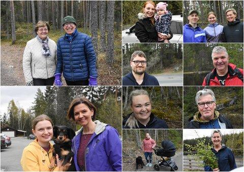 PÅ TUR: Telen møtte alle disse på tur i skogen i Notodden  tidligere i dag, søndag. Her forteller de alle sammen hvordan de skal feire nasjonaldagen 17. mai i morgen.