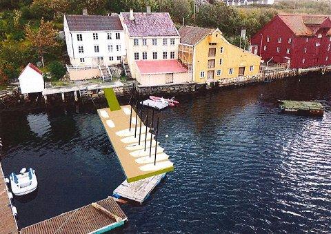 Slik ser Kristiansund Seilsportklubb for seg flytebrygga.