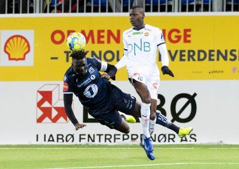 KBKs Aliou Coly og Moses Mawa under eliteseriekampen på Kristiansund stadion. Foto: Ned Alley / NTB scanpix