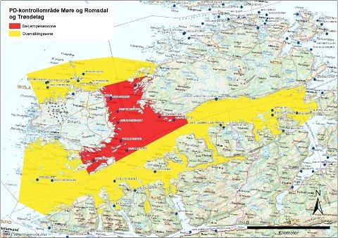 Mattilsynets kart som viser bekjempelsessonen i rødt og overvåkingssonen i gult.