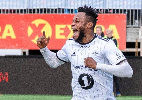 Samuel Adegbenro var en glad mann etter scoringen mot Ranheim i Eliteserien torsdag.