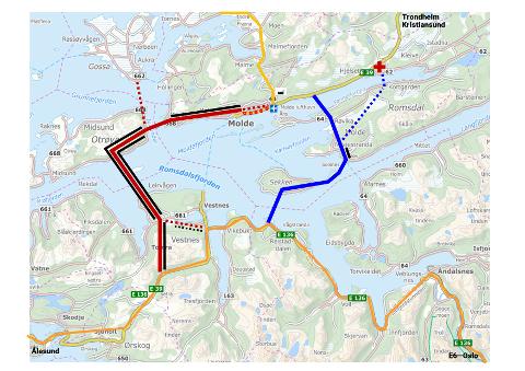 Møreaksen har rød farge, Romsdalsaksen blå.  Sorte strek markerer omfang av tunneler.  En strek for enkelt løp og to strek for dobbelt.  Romsdalsaksen går fra Hjelvika til Lønset og med alternativet Hjelset med stiplet linje.