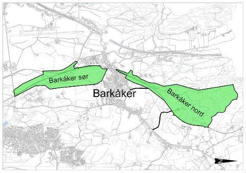 SØR OG NOR: Her de to områdene ved Barkåker i Tønsberg Bane NOR har pekt på som mulig parkeringsplass for tog. ILLUSTRASJON: Bane NOR