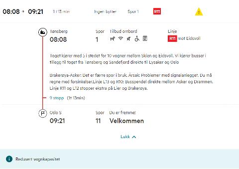 PROBLEMER: På avgangen som skal gå 08.08 fra Tønsberg til Oslo meldes det om forsinkelser på grunn av problemer med signalanlegget.
