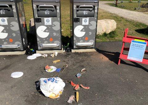 GRISETE: Slik så det ut i helgen. Mellom søppeldunkene er det kastet hundeposer.