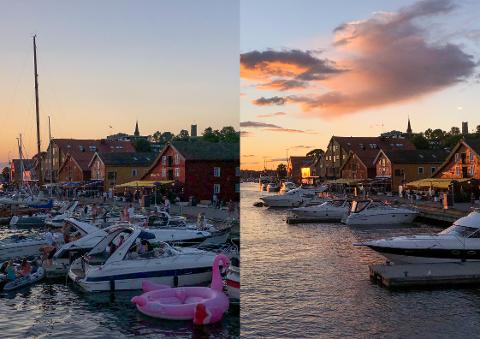 FULL RULLE: Fredag kveld (t.v.) var det god kok på Brygga. Søndag kveld er det roligere omgivelser langs bryggekanten.