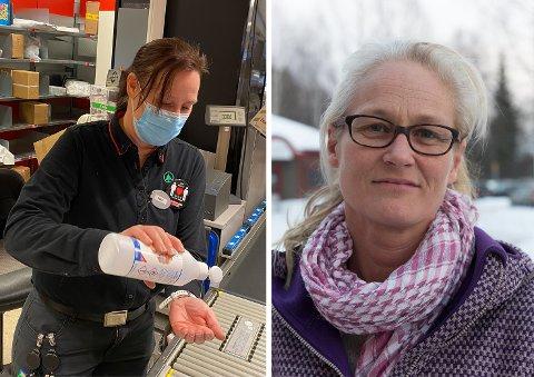 SPENT: Kommuneoverlege Rebecca Setsaas (t.h.) er betinget optimist, men det avhenger av at så mange som mulig følger eksemplet til Rose-Marie Skogly på Spar Lena. ARKIVBILDER