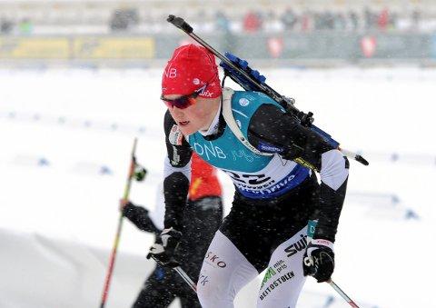 På pallen: Harald Øygard gikk inn til tredjeplass på normalen under norgescuprennet i skiskyting på Lygna lørdag.