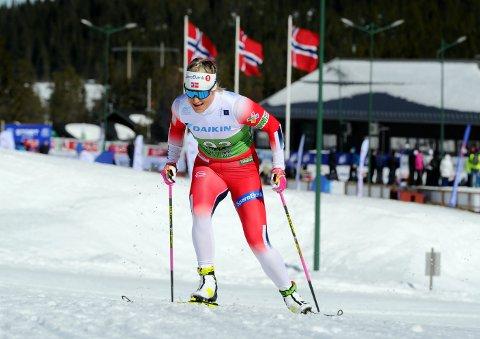 Sterk avslutning: Mari Eide er sprinter, men lørdag gikk hun tremila under NM på ski på Lygna.