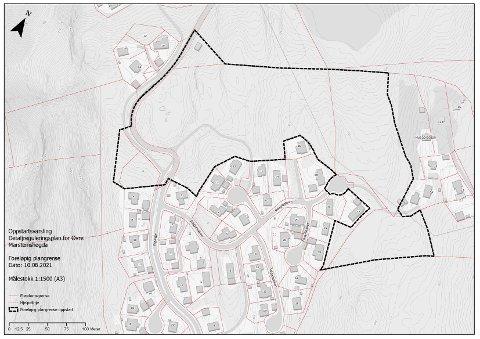 PLANOMRÅDET: Kartet viser hvor i terrenget det nye boligfeltet er tenkt plassert.