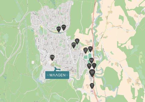 BELIGGENHETEN: Her skal det nye rekkehusprosjektet Waagen 2016 ligge.