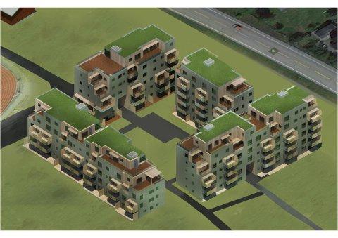 STRIDENS KJERNE:Utbygger Bjertnes AS krangler nå med kommunen om byggetillatelse for dette boligblokk-prosjektet som består av 94 leiligheter i Nittedal sentrum, beliggende mellom riksvei 4 og sentralidrettsanlegget.