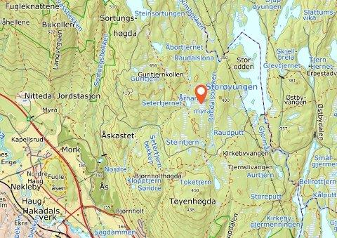 FORESLÅTTVERNET:Århanemyra ligger på Romeriksåsen vest for Storøyungen.