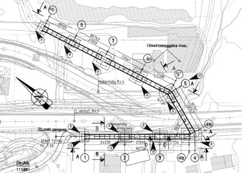 EKSTRAKOSTNAD:Veivesenets tegning av midlertidig gangbru over riksvei 4 rett sør for det planlagte krysset til storskolen på Elvetangen.