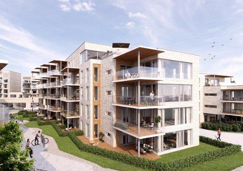 KLART FOR BYGGETRINN II: Alt er utsolgt i første byggetrinn på Sanden brygge, og Fritzøe eiendom konsentrerer seg nå om neste byggetrinn. Der er allerede 23 av totalt 32 leiligheter solgt.