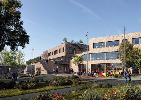BYDELSHUS: Slik har Ola Roald-arkitektene tegnet den nye ungdomsskolen på Sagene.