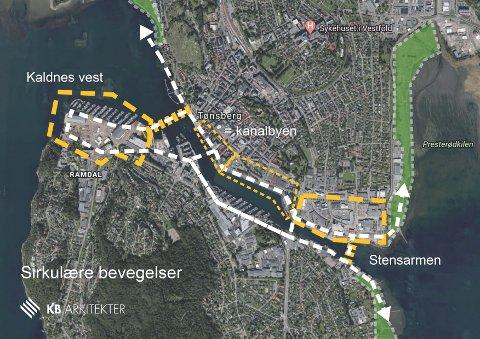 SJØNÆRT: Arkitekt Thorvald Bernhardt ser for seg to nye gangbruer fra Nøtterøy til fastlandet: på Stensarmen og ved Kaldnes Vest. Slik får man flere muligheter til å bevege seg langs sjøkanten.