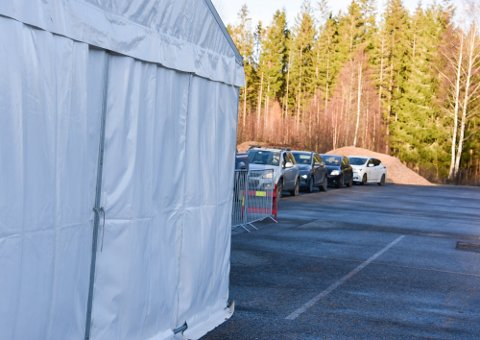 Ni personer i Vestby har fått påvist smitte det siste døgnet. Her fra testasjonen på Risil.
