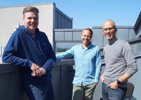 I navnetrøbbel: Spotify reagerte da (fra v. ) Mathias Engen, Mads Skraastad og Ørjan Rolness kalte selskapet sitt Sortify.