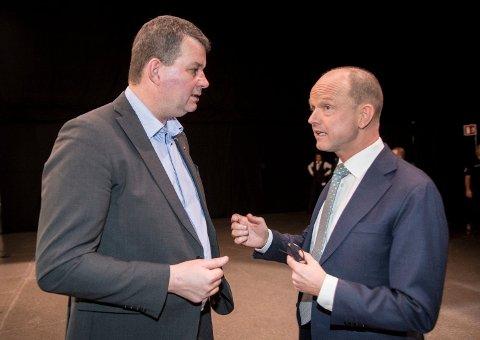 VARSLER STREIK: LO-leder Hans-Christian Gabrielsen (t.v.) og NHO-sjefen Ole Erik Almlid (t.h.) er ikke enige om årets lønnsoppgjør. Dermed risikeres det storstreik fra mandag morgen.