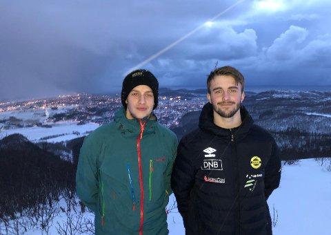 Fabian Paulke (20) og Brage Breivik (21) er hekta på toppturer. Brage leder nå Mini Ti på topp med over 20 topper, på tre dager.
