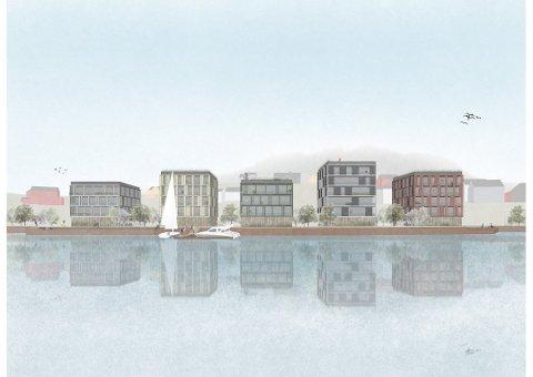 Illustrasjon: Slik ser den siste tegningen av leilighetsblokkene ut. Foto: Tanken Arkitektur AS
