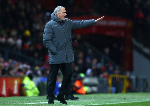 Manchester United coach Jose Mourinho gestures during the English Premier League soccer match between Manchester United and Manchester City at Old Trafford Stadium in Manchester, England, Sunday, Dec. 10, 2017. (AP Photo/Dave Thompson)