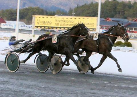Utvendige Lucky Black Pearl og Vidar Hop var foran hele oppløpet, men kort før mål kontret 70-åringen Ove Wassberg og Armagedon Vivel til seier. Foto: Åge Liland, Equus