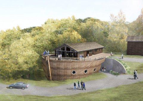 BYGGER OM HYTTE: Grunnsteinen til Noas Ark legges ned 16. juni. Målet er å ha bygget ferdig i løpet av et par år. Illustrasjon: Gulsrud leirsted