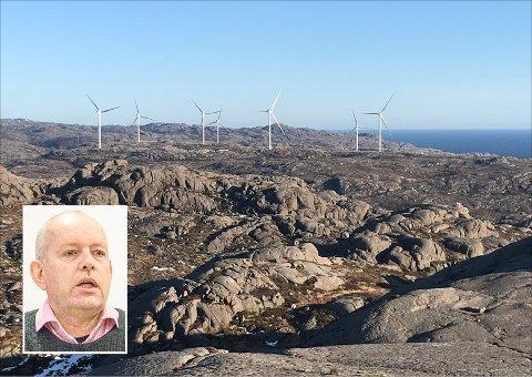 DET HOLDER NÅ: John Mong og KrF ønsker å sende et «tydelig signal» til framtidige vindkraftutbyggere. Det bør ikke anlegges flere vindkraftverk i Eigersund de neste 12 åra, mener partiet. Bildet viser Svåheia vindpark sett fra Beringsfjellet.