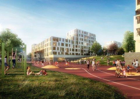 PLANENE: En av skissene som viser hvordan Marienlyst Utvikling (Ticon og Drammen kommune) ser for seg at det kan bli på Marienlyst.