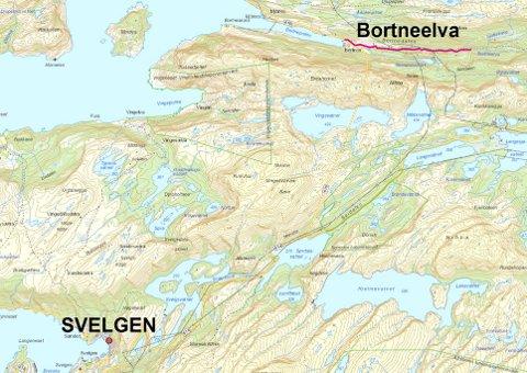 Kart som viser kor Bortneelva ligg i forhold til Svelgen.