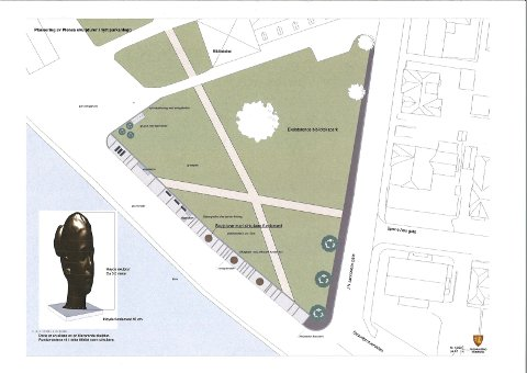 Dette situasjonskartet viser mer om parkplaner og skulpturplassering.  llustrasjon: Fredrikstad kommune