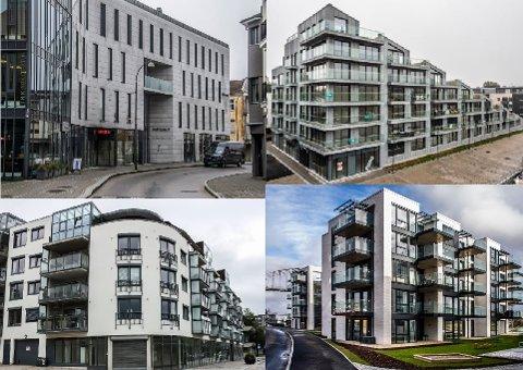 Disse byggene på Gressvikbrygga, Tordenskiold Brygge, Damskipsbrygga og Riverside er eksempler på relativt nye bygg der man ikke akkurat har tatt i bruk hele fargespekteret. Nå vil bystyret ha en veileder som kan inspirere til å ta fargene i bruk igjen.