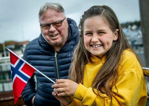 UNG PROGRAMLEDER: Hanna Heltvedt Amundsen (9) blir programleder sammen med Dag Solheim under sendingene 16. og 17. mai fra City Scene. Begge sendes på FBTV.