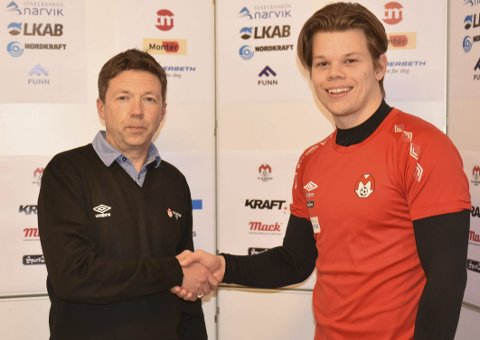 BLIR SATSET PÅ: Frank Aanes Andersen (t v) sier Mjølner satser på Joakim Evjen som førstekeeper i 2020-sesongen. Foto: Kolsvik