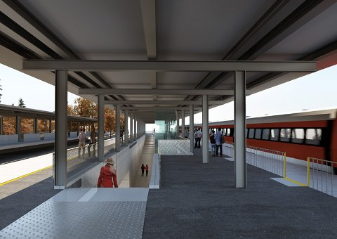 UNDER TAK: Slik tenker Bane Nor at framtidig togstopp på Skoppum skal se ut. Ifølge en svensk rapport bør stoppestedene ligge i bynære strøk.