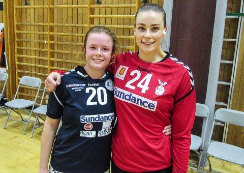 I SÆRKLASSE: Camilla Myklebust (t.v.) og målvakten Karoline Kjuus Christiansen var Falks to beste spillere da Larvik Turns 2.lag ble slått 26-21 i Holtanhallen onsdag.