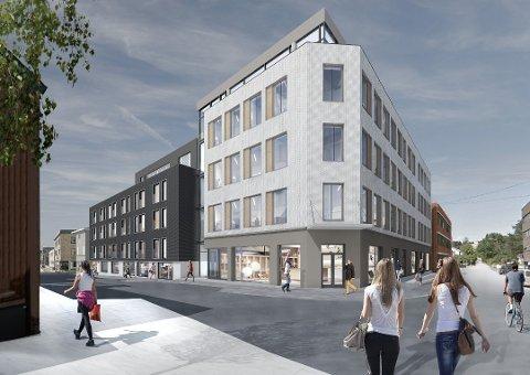 NYTT KVARTAL: Slik er det meningen at det nye Haugekvartalet skal bli seende ut. 12 av 33 boliger er solgt.