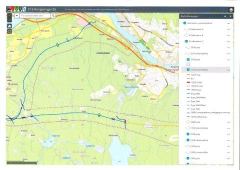 OMSTRIDT TEMA: Den skisserte E16-løsningen over Bæreia bekymrer flere av kommunepolitikerne, men Nye Veier er villige til å gjøreflere vurderinger av hvordan trafikken på nye E16 kan ledes gjennom Kongsvinger.