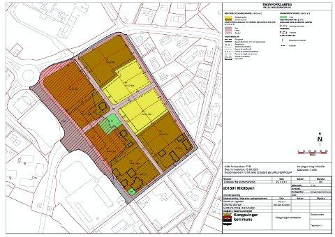 MIDTBYEN: Slik ser områdereguleringsplanen for Midtbyen ut. De to gule områdene er avsatt til rene boligformål.