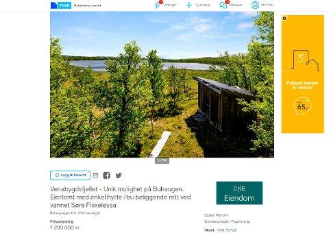 TIL SALGS: Annonse på FINN for salg av ei lita bu på Venabygdsfjellet (Faksimile av salgsannonsen).