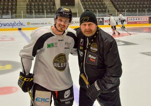 Peter Lorentzen og Oilers-trener Petter Thoresen tok lørdag enda et steg nærmere et nytt NM-gull.