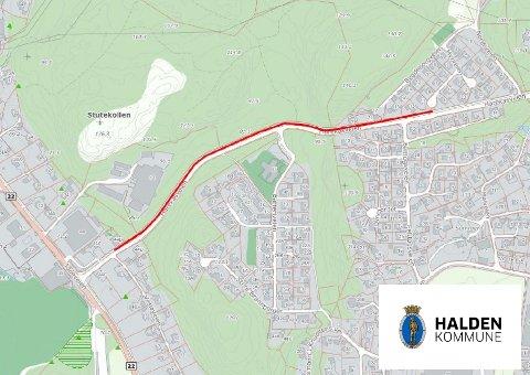 HER: Dette kartet viser hele anleggsområdet. Den røde streken markerer hvor det vil bli gravearbeider i løpet av prosjektet. Omtrent halvparten av dette er allerede gravd i løpet av prosjektets første fase.