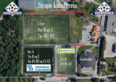 STRUPE: Oversiktskart over Strupe, med hvilke innganger som vil gjelde onsdag kveld.
