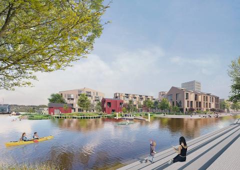 FORSLAG: Det har kommet inn tre forslag. Et av dem er fra  Asplan Viak, som foreslår etablering av en kanal fra fjorden inn til stasjonstorget og kompaktbebyggelse inkludert svømmehall og kulturhus ved stasjonen.