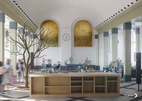 INNE: Slik ser arkitektfirmaet for seg nyerestauranten. Illustrasjon Plan 1 AS