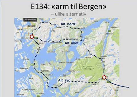Arm til Bergen, ulike alternativ. Kart