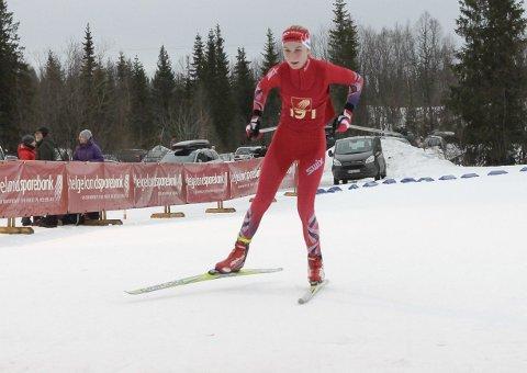 KM på ski Sjåmoen fristil. Arrangør Mosjøen IL Ski. Kretsmester J14 Marie Risvoll Amundsen, Fauske