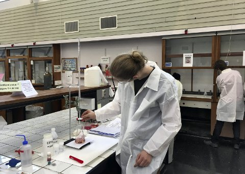 Finaleplass: Leo Stoll (18) kom på delt 2. plass under landsfinalen i kjemiolympiaden i Oslo. Stoll representerer Mosjøen videregående skole. Her gjør han analytisk kjemi på laboratoriet. Foto: Hans Petter Hersleth